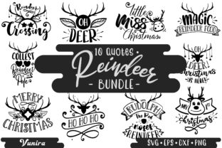 Print on Demand: 10 Reindeer Bundle   Lettering Quotes Graphic Crafts By Vunira
