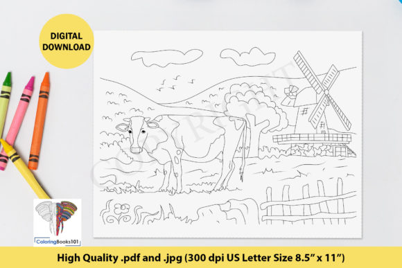 A Cow in the Grass Field Graphic Coloring Pages & Books Adults By ColoringBooks101