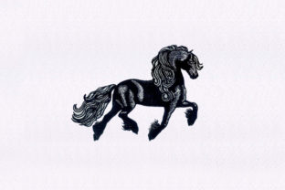 Beautiful Black Horse Horses Embroidery Design By DigitEMB
