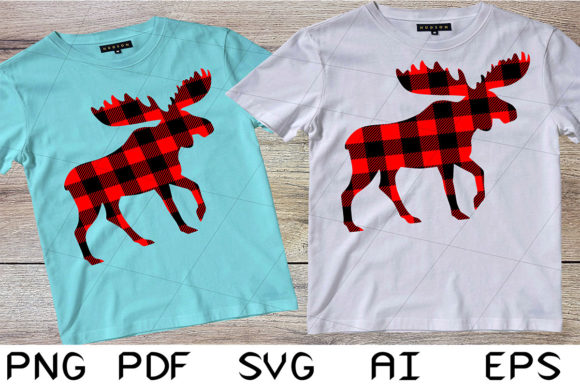 Print on Demand: Buffalo Plaid Moose for Merry Christmas Graphic Crafts By Digital Creations