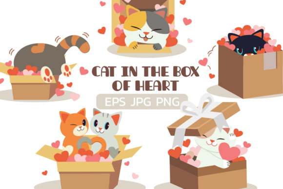 Bundle of Cat in Heart of Box Graphic Illustrations By Guppic the duck
