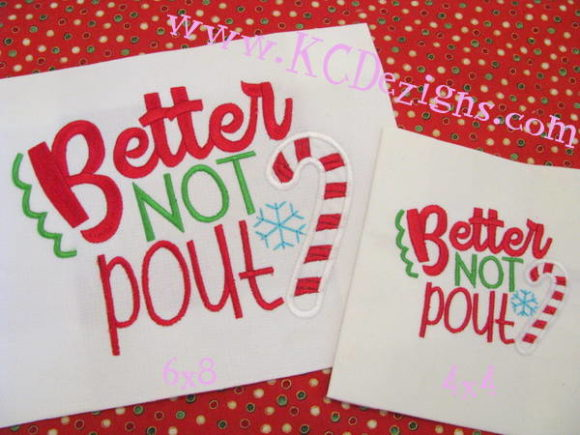 Christmas - Better Not Pout Christmas Embroidery Design By karen50