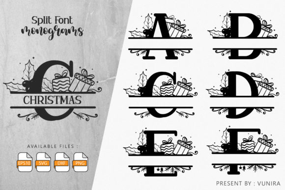 Print on Demand: Christmas | Split Font  Monogram Graphic Crafts By Vunira