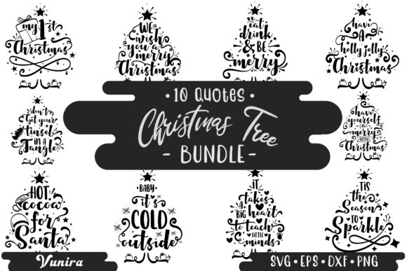 Print on Demand: Christmas Tree Bundle | Lettering Quotes Graphic Crafts By Vunira