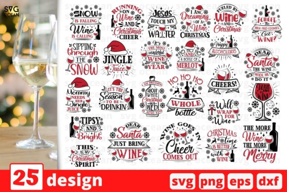 Christmas Wine SVG Bundle Graphic Crafts By SvgOcean