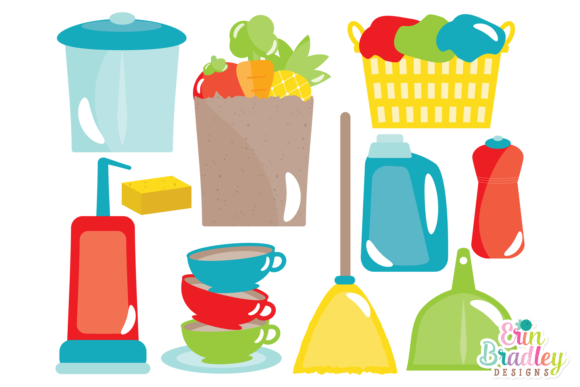 Print on Demand: Clipart - Household Chores Graphic Illustrations By Erin Bradley Designs