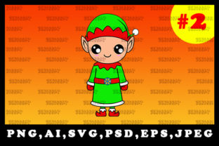 Print on Demand: Cute Christmas Elf Sublimation Clipart 2 Graphic Illustrations By zerobbat