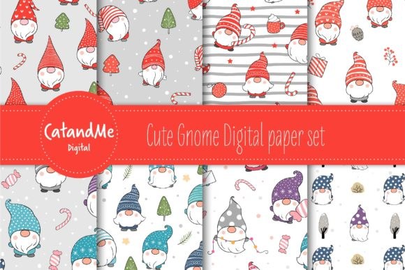 Cute Gnome Digital Paper Set Graphic Patterns By CatAndMe