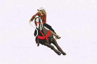 Female Horse Jockey Design Sports Embroidery Design By DigitEMB
