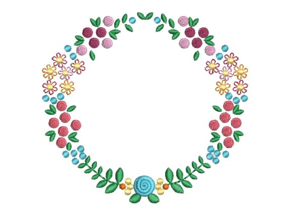 Flower and Roses Circle Bouquets & Bunches Embroidery Design By carasembor