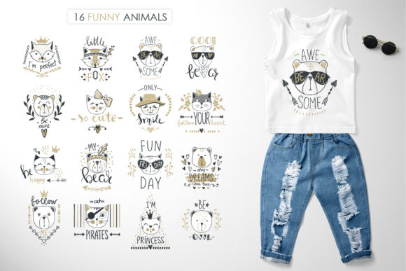 Funny Doodle Animals Set Graphic Illustrations By yana26789