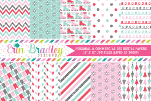 Print on Demand: Glittery Winter Digital Papers Graphic Backgrounds By Erin Bradley Designs
