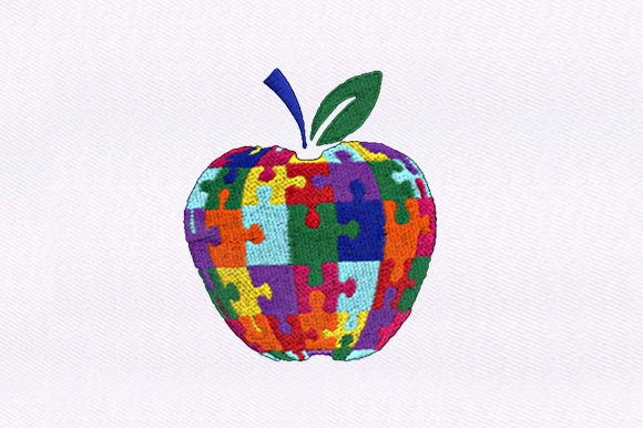 Jigsaw Apple Food & Dining Embroidery Design By DigitEMB