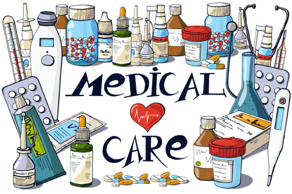 Medical Clip Art and Inscriptions Graphic Illustrations By AstraDesign