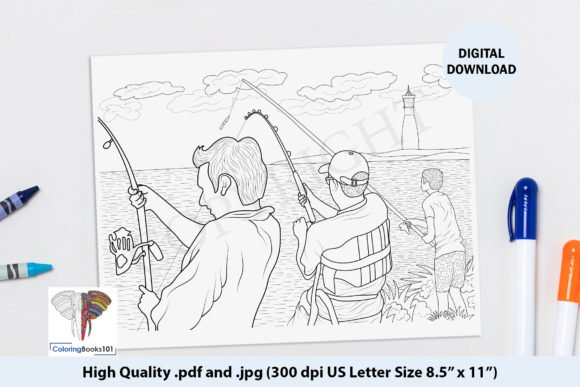 Men Fishing Near the Lighthouse Graphic Coloring Pages & Books Adults By ColoringBooks101