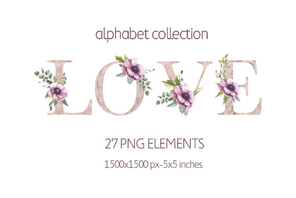 Pink Flower Watercolor Alphabet Letters Graphic Illustrations By olesiafrolowa