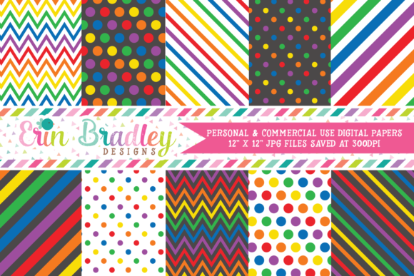 Print on Demand: Rainbow Digital Papers Graphic Backgrounds By Erin Bradley Designs
