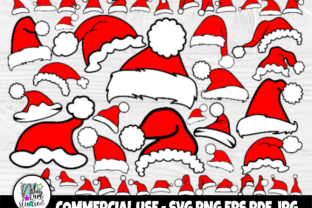 Print on Demand: Santa Hat SVG Bundle, Funny Christmas Graphic Crafts By nibaartstudio