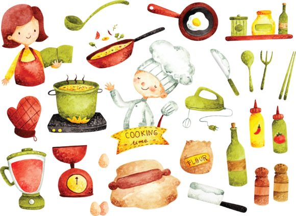 Set of Cooking Doodle Water Color Graphic Illustrations By Big Barn Doodles