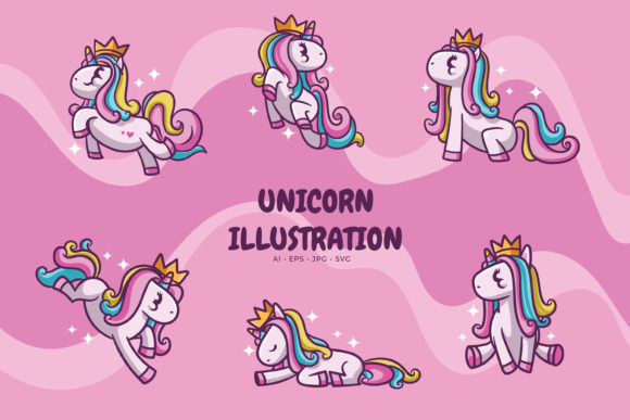 Print on Demand: Unicorn Illustration Pack Graphic Illustrations By libersla