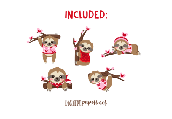 Valentines Day Sloths Clipart Set Graphic Download