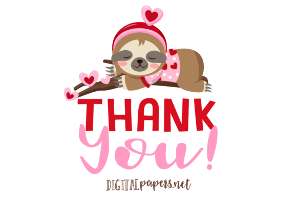 Valentines Day Sloths Clipart Set Graphic Item