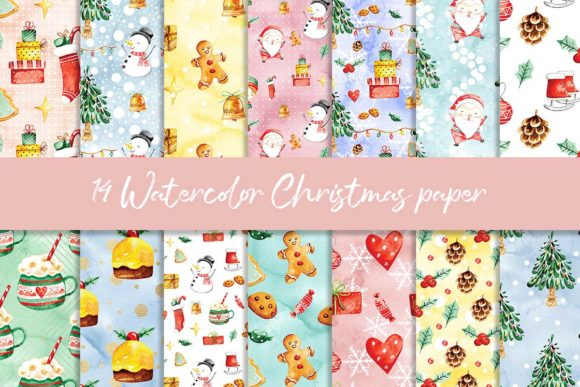 Print on Demand: Watercolor Christmas Digital Paper Graphic Patterns By beracaink