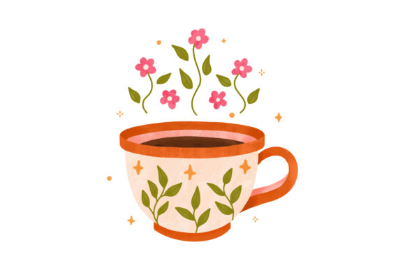 Print on Demand: Watercolor Cup Tea Coffee Floral Pattern Graphic Illustrations By Musbila