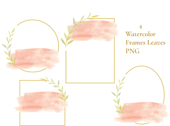Watercolor Frames Leaves Graphic Illustrations By roosmom