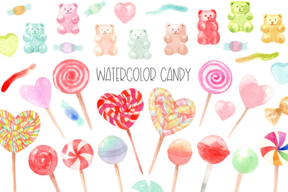 Watercolor Candy. Valentine's Day Graphic Illustrations By Slastick