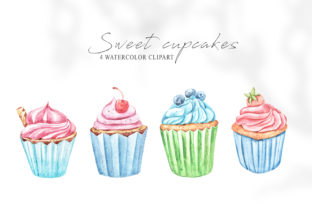 Print on Demand: Watercolor Cupcakes Clipart. Baking Png Graphic Illustrations By Tiana Geo