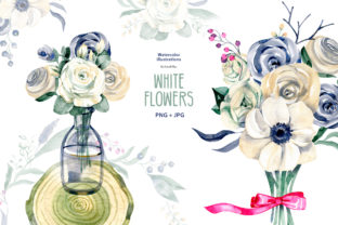 Watercolor White Flowers Graphic Illustrations By NataliMyaStore