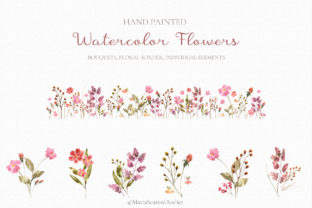 Print on Demand: Wildflowers Watercolor Clipart Graphic Illustrations By MariaScaroniAtelier