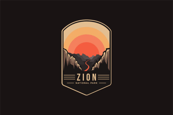 Zion National Park Logo Patch Badge Graphic Logos By DOMSTOCK