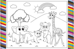 Print on Demand: Coloring Animals Cartoon for Kids Graphic Coloring Pages & Books By curutdesign