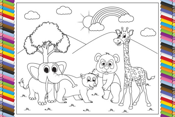 Print on Demand: Coloring Animals Cartoon for Kids Grafik Ausmalseiten & Malbücher von curutdesign