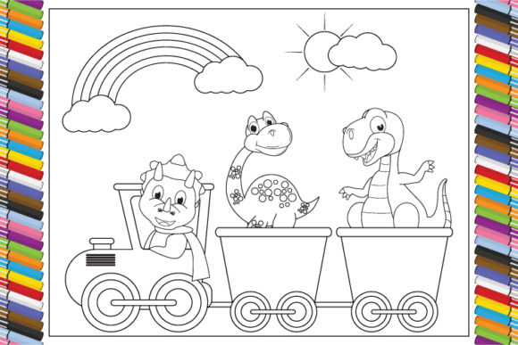 Print on Demand: Coloring Dinosaur Cartoon for Kids Graphic Coloring Pages & Books By curutdesign