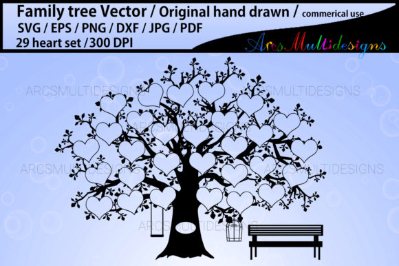 Print on Demand: 29 Heart Family Tree Template Graphic Illustrations By Arcs Multidesigns