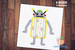 A Robot with the Antenna on Head Robots & Space Embroidery Design By embroiderydesigns101