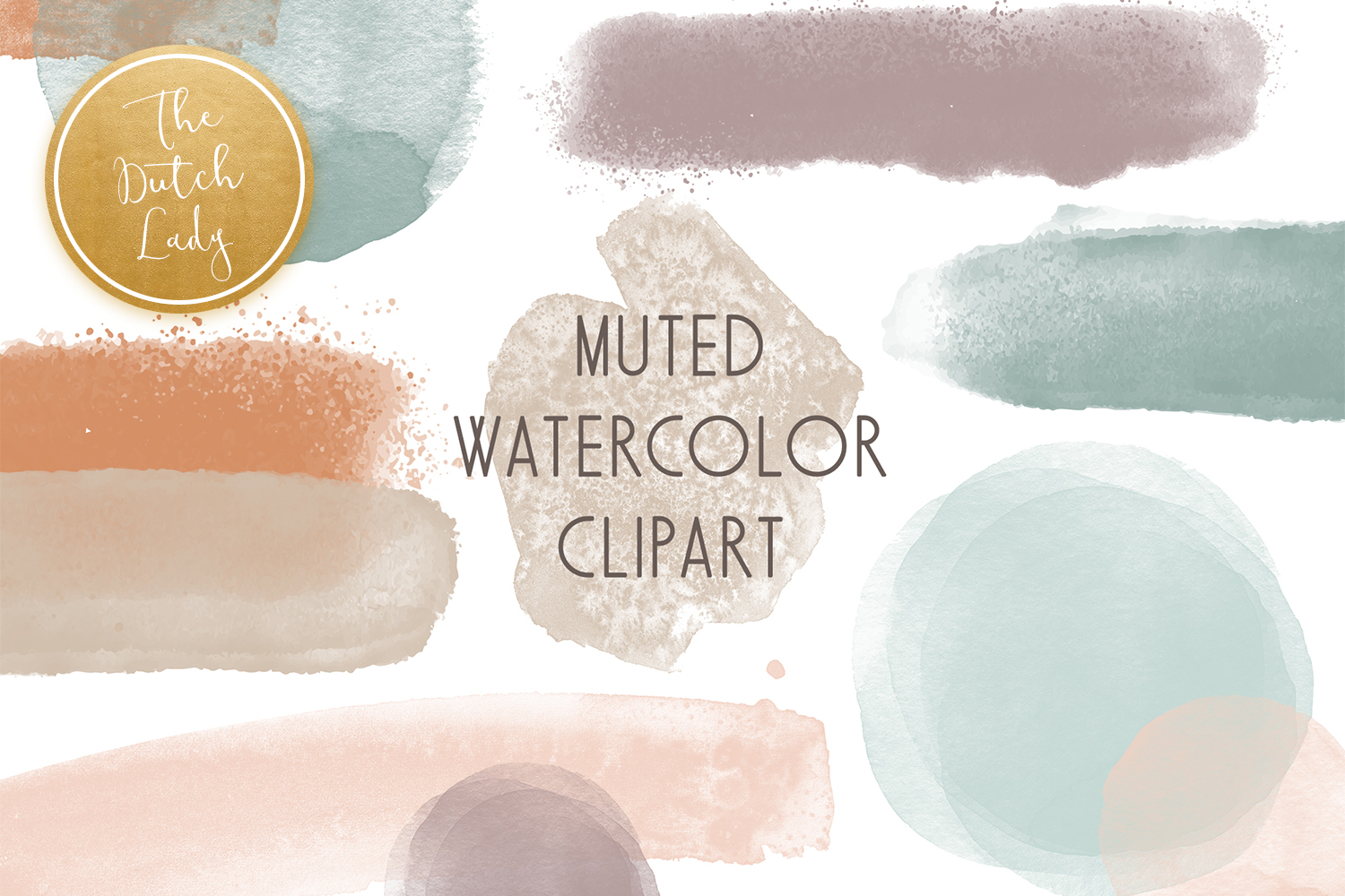 Abstract Watercolor Clipart Set SVG File
