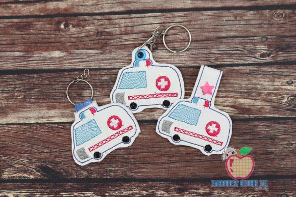 Ambulance ITH Keyfob Transportation Embroidery Design By embroiderydesigns101