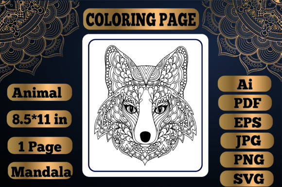 Print on Demand: Animal Mandala Coloring Page13 for Adult Graphic Coloring Pages & Books By KDP_Interior_101