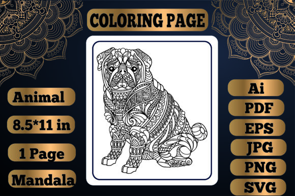 Print on Demand: Animal Mandala Coloring Page15 for Adult Graphic Coloring Pages & Books By KDP_Interior_101