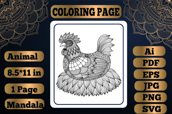Print on Demand: Animal Mandala Coloring Page20 for Adult Graphic Coloring Pages & Books Adults By KDP_Interior_101