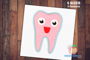 Applique Design of Happy Tooth Backgrounds Embroidery Design By embroiderydesigns101