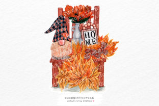 Print on Demand: Autumn Gnome with Maple Leaves Graphic Crafts By Chonnieartwork