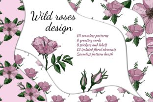 Print on Demand: Big Design Set with Wild Roses. Patterns Graphic Print Templates By Alena Sas Store