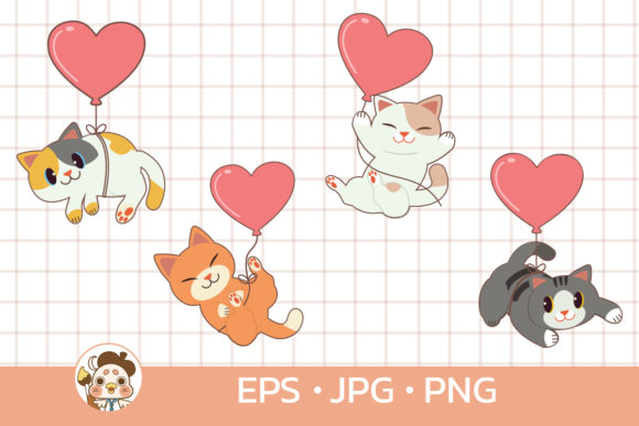 Bundle of Cat with Heart Balloon Graphic Illustrations By Guppic the duck