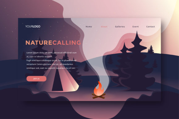 Camping Landing Page Graphic Websites By DOMSTOCK