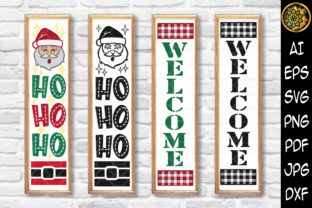 Print on Demand: Christmas Vertical Porch Sign SVG Graphic Illustrations By V-Design Creator